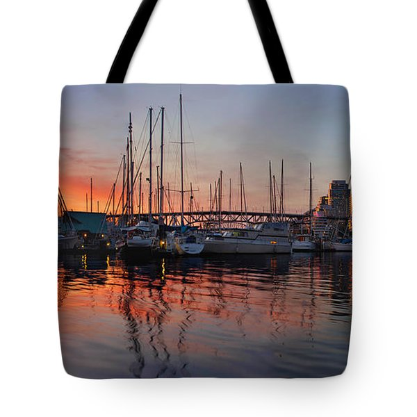 Tote Bag featuring the photograph Sunset View From Charleson Park In Vancouver Bc by JPLDesigns