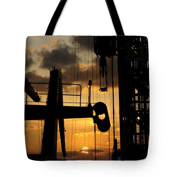 Sunset Viewed From An Oil Rig Tote Bag