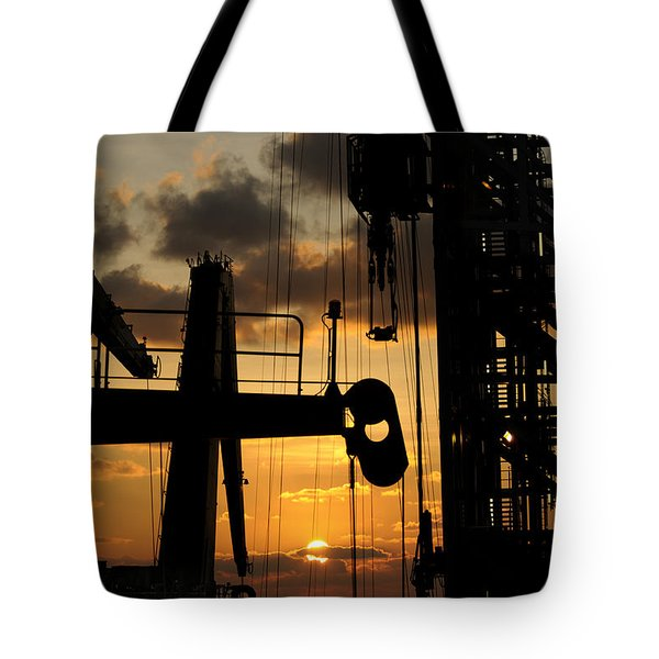 Sunset Viewed From An Oil Rig W Border Tote Bag