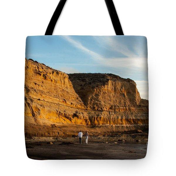 Sunset Walk At Flat Rock  La Jolla California Tote Bag