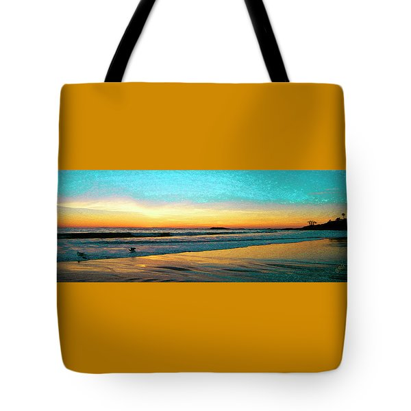 Sunset With Birds Tote Bag by Ben and Raisa Gertsberg
