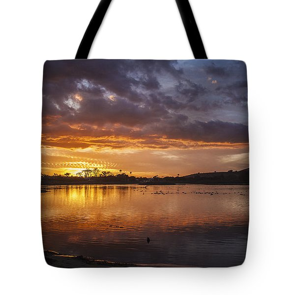 Sunset With Clouds Over Malibu Beach Lagoon Estuary Tote Bag by Jerry Cowart