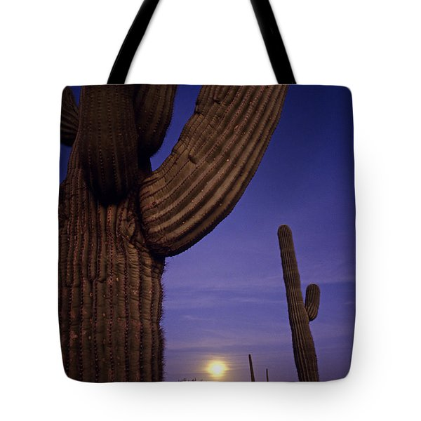 Sunset With Moonise Behind Saguaro Cactus In Desert Southwest Ar Tote Bag