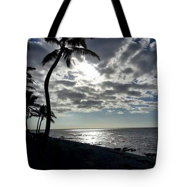 Sunset With Palm Trees Tote Bag by Pamela Walton