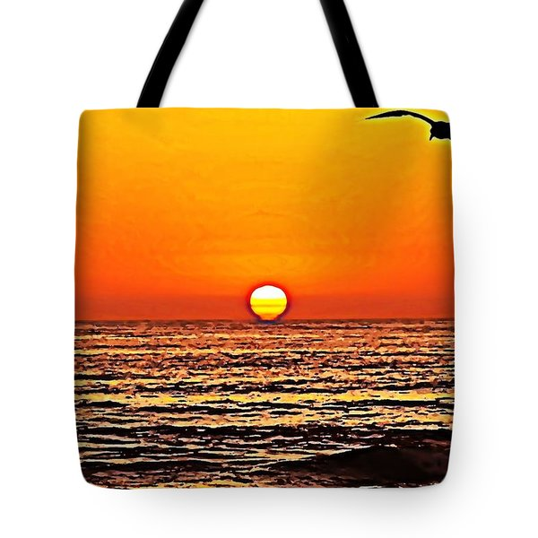 Sunset With Seagull Tote Bag by Sharon Soberon