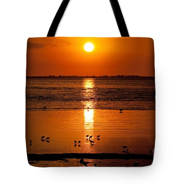 Tote Bag featuring the photograph Sunset With The Birds Photo by Meg Rousher