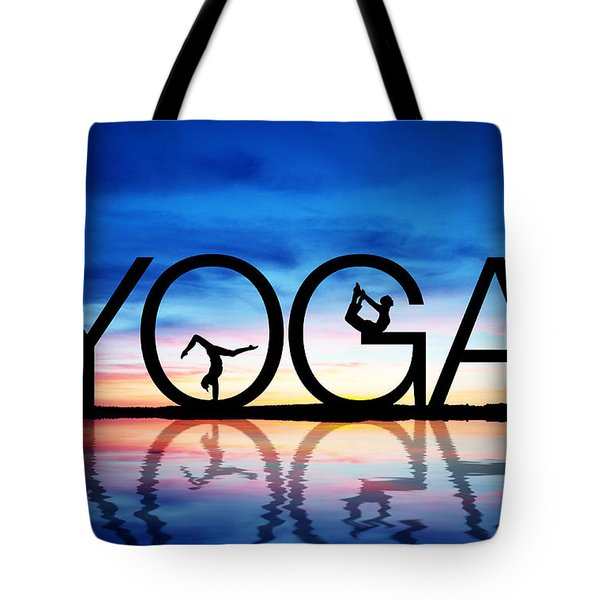 Sunset Yoga Tote Bag by Aged Pixel