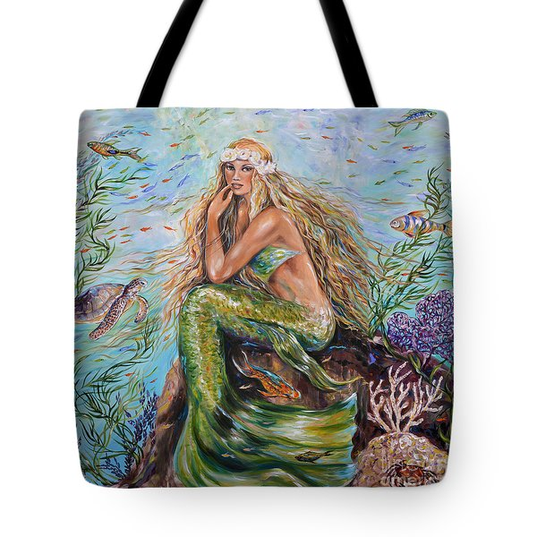 Tote Bag featuring the painting Sunshine Mermaid Square by Linda Olsen