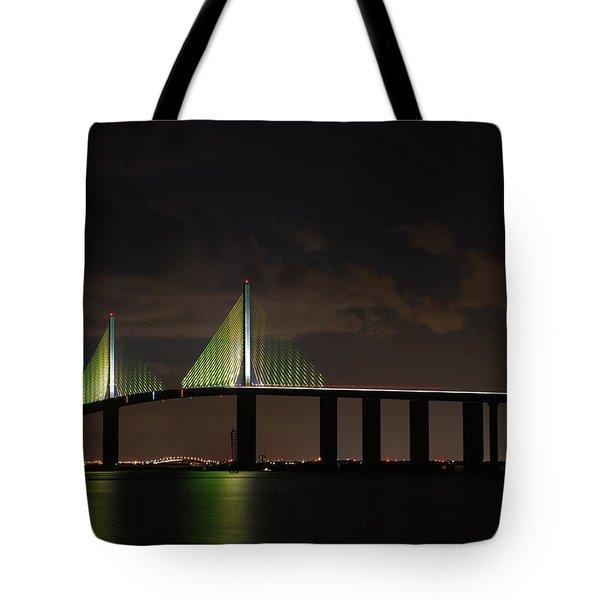 Sunshine Skyway Bridge Tote Bag by Beverly Stapleton