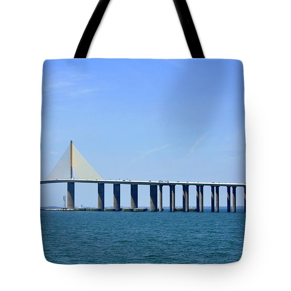Sunshine Skyway Bridge II Tampa Bay Florida Usa Tote Bag by Sally Rockefeller