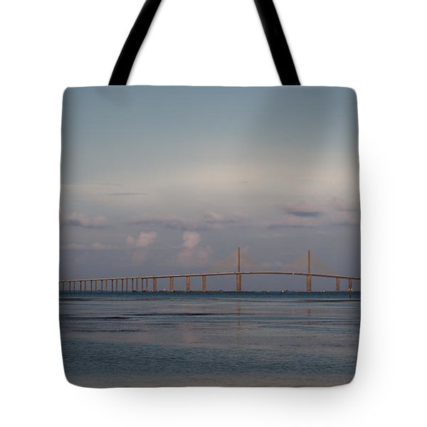 Tote Bag featuring the photograph Sunshine Skyway Bridge by Steven Sparks