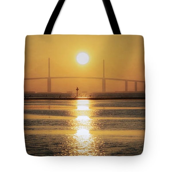 Tote Bag featuring the photograph Sunshine Skyway Bridge Sunrise by Steven Sparks