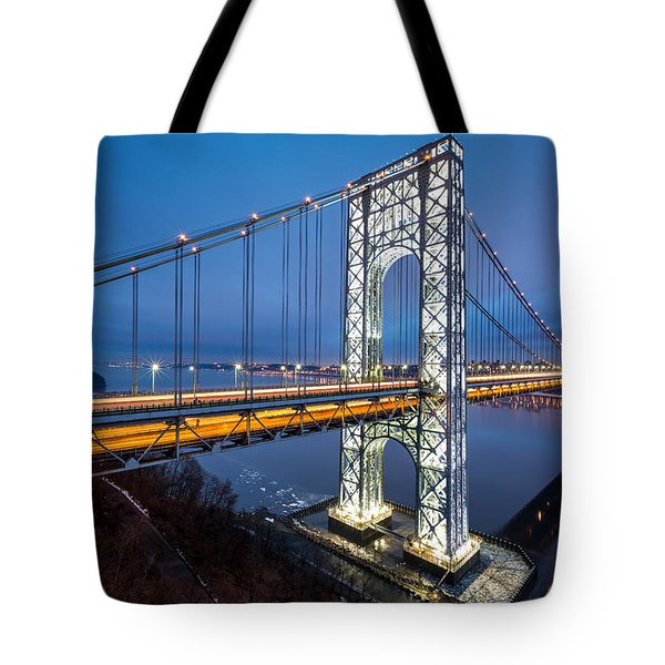 Tote Bag featuring the photograph Super Bowl Gwb by Mihai Andritoiu