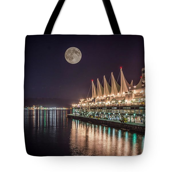 Super Moon Over Canada Place Vancouver - By Sabine Edrissi Tote Bag
