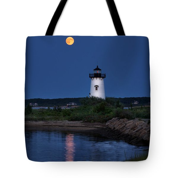 Super Moon Over Edgartown Lighthouse Tote Bag