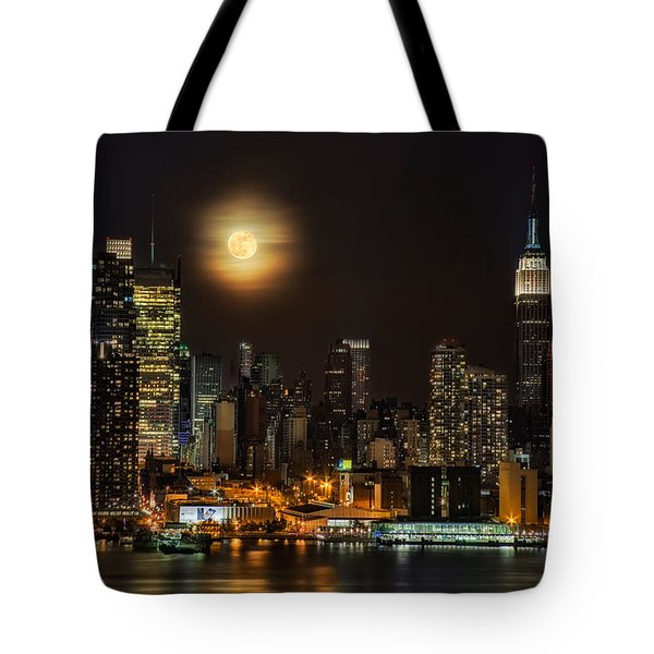 Super Moon Over Nyc Tote Bag