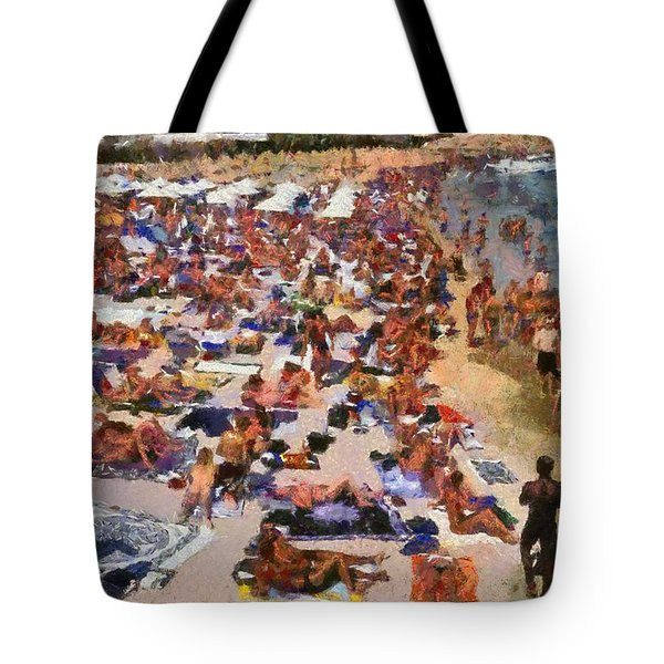 Super Paradise Beach In Mykonos Island Tote Bag by George Atsametakis