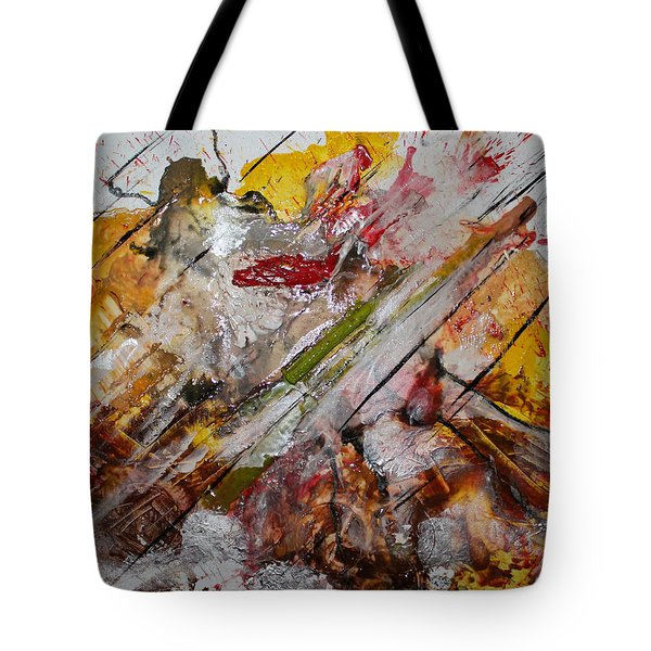 Tote Bag featuring the painting Superhero Meltdown by Lucy Matta