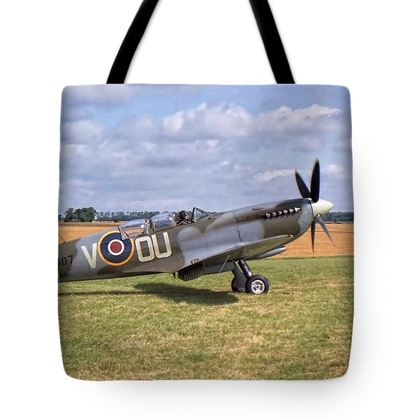 Tote Bag featuring the photograph Supermarine Spitfire T9 by Paul Gulliver