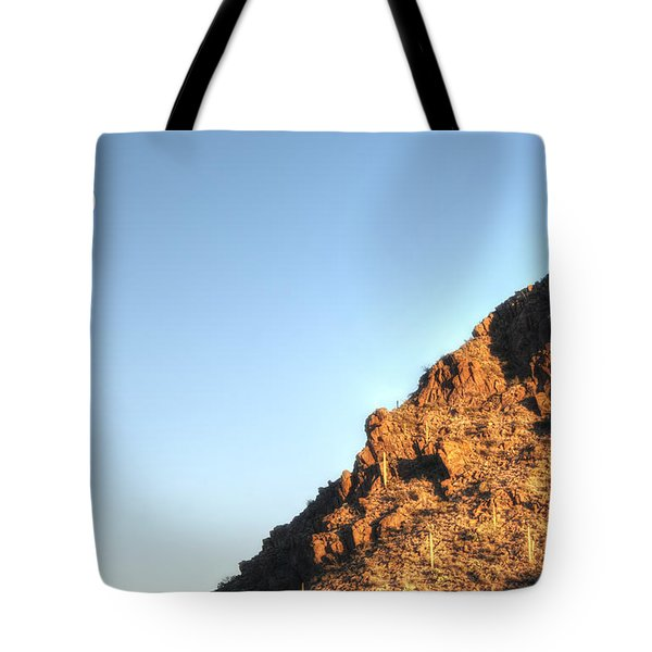 Tote Bag featuring the photograph Superstition Mountain by Lynn Geoffroy