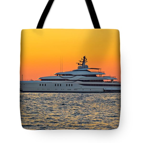 Superyacht On Yellow Sunset View Tote Bag