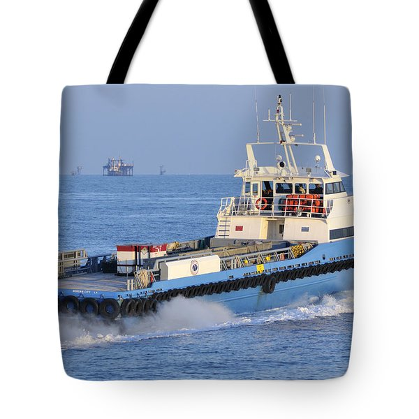 Supply Vessel Heads To Sea Tote Bag