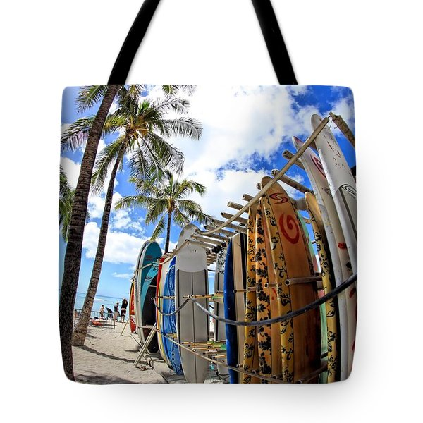 Surf And Sun Waikiki Tote Bag