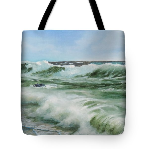 Tote Bag featuring the painting Surf At Castlerock by Barry Williamson