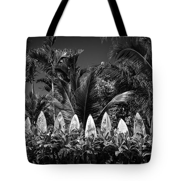 Surf Board Fence Maui Hawaii Black And White Tote Bag