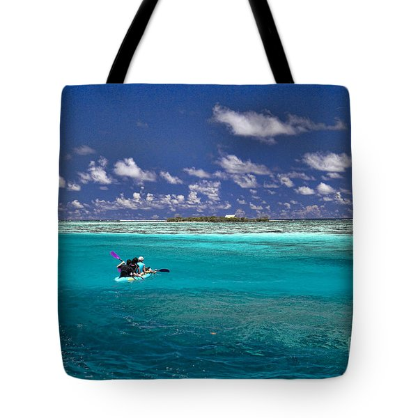 Surf Board Paddling In Moorea Tote Bag by David Smith