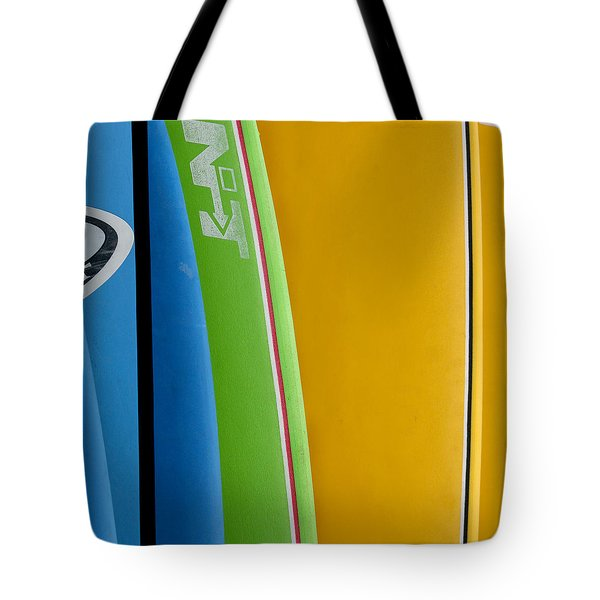 Tote Bag featuring the photograph Surf Boards by Art Block Collections