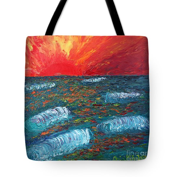 Tote Bag featuring the painting Surf On Fire by Ania M Milo