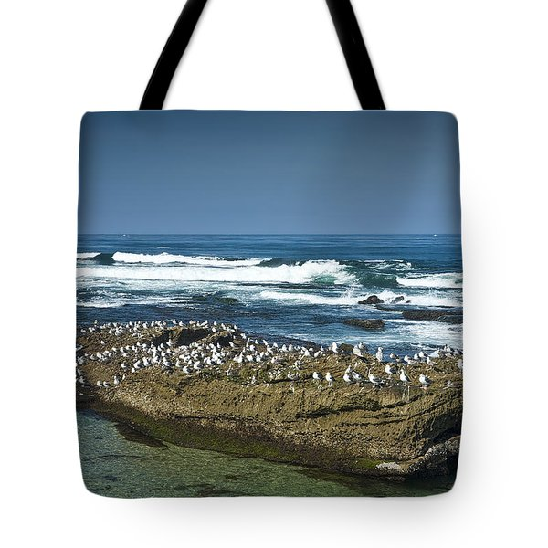 Surf Waves At La Jolla California With Gulls Perched On A Large Rock No. 0194 Tote Bag
