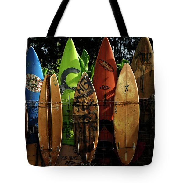 Surfboard Fence 4 Tote Bag by Bob Christopher