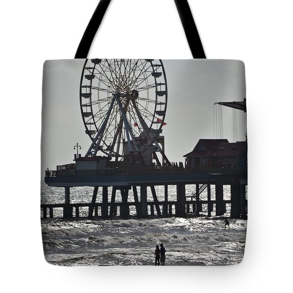Surfer And Lovers At Pleasure Pier Tote Bag