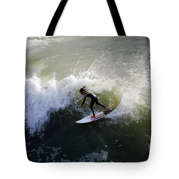 Surfer Boy Riding A Wave Tote Bag by Catherine Sherman