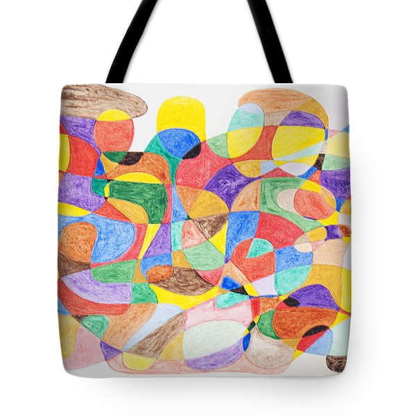 Tote Bag featuring the painting Abstract Dance Party  by Stormm Bradshaw