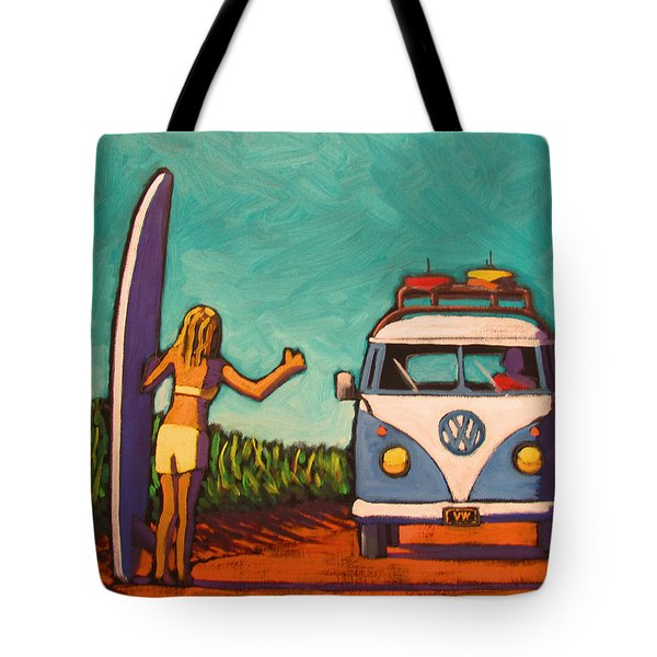 Surfer Girl And Vw Bus Tote Bag
