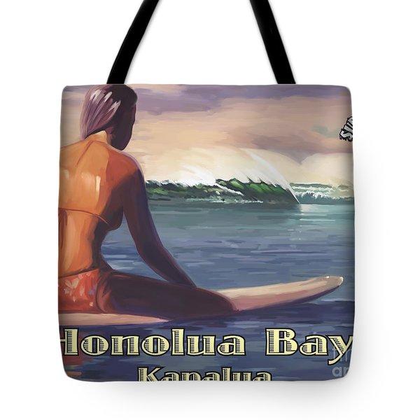 Surfer Girl Honolua Bay Tote Bag
