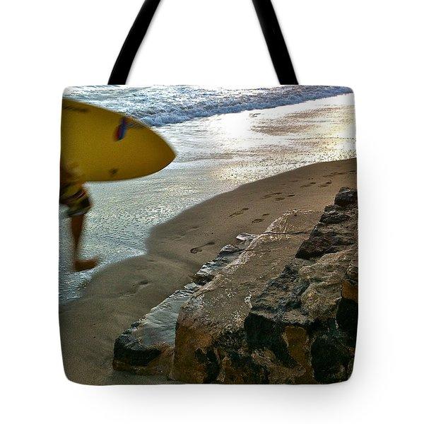 Surfer In Motion Tote Bag