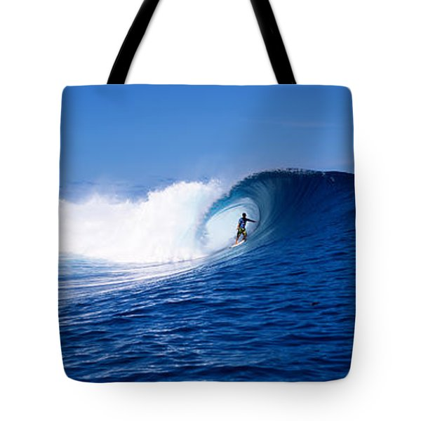 Surfer In The Sea, Tahiti, French Tote Bag by Panoramic Images