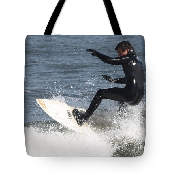 Tote Bag featuring the photograph Surfer On White Water by John Telfer
