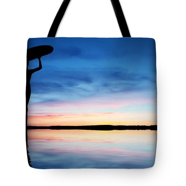 Surfer Silhouette Tote Bag by Aged Pixel