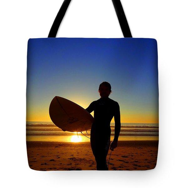 Surfer Silhouette Tote Bag