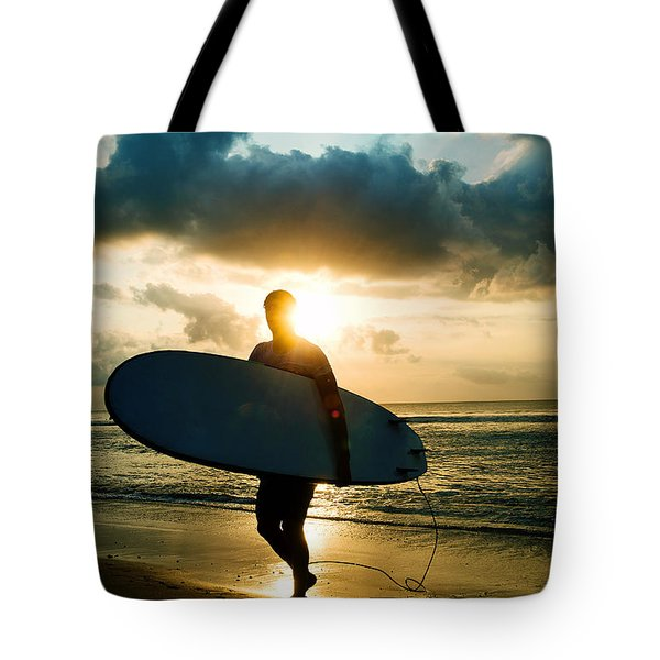 Tote Bag featuring the photograph Surfer by Yew Kwang