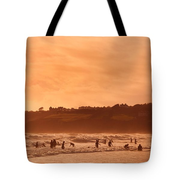 Surfers In Tramore Bay, County Tote Bag