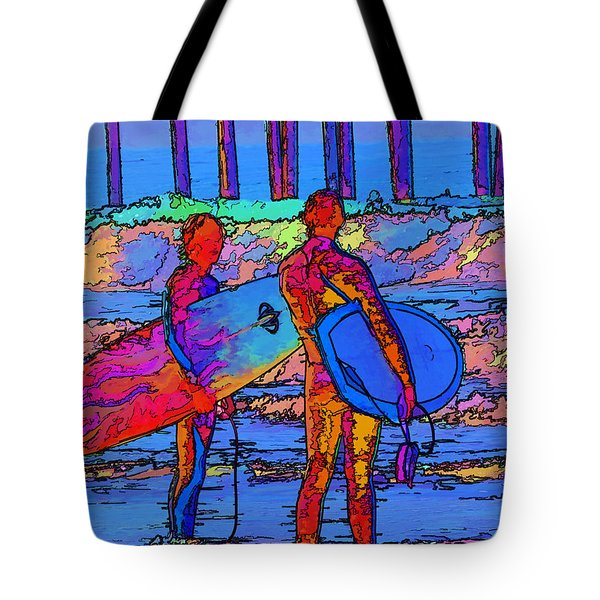 Surfers Tote Bag by Kathy Churchman