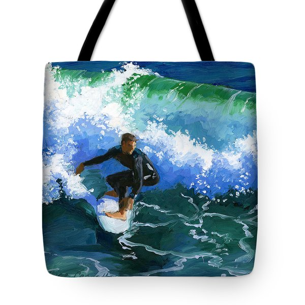 Surfin' Huntington Beach Pier Tote Bag by Alice Leggett