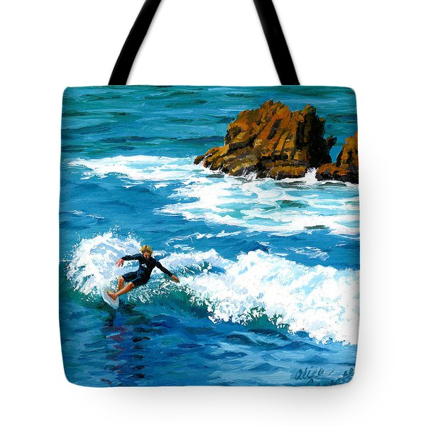 Surfin' Laguna Rocks Tote Bag