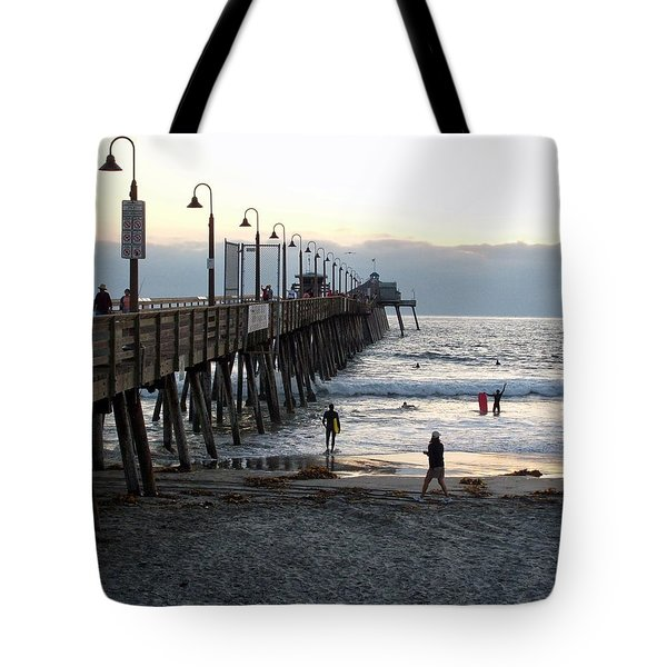 Surfing At Dusk Tote Bag